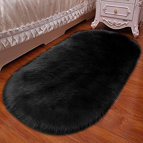 ASJUNQ Kunstfell-Teppich, weicher Flauschiger Teppich, Shaggy-Wolle, 5-8 cm lang, Kaschmir, moderner Luxus-Imitat, Wolle, Yogamatte, kuschelig weich, Schwarz, 180 * 200cm - Kaschmir-schwarz-teppich