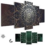 decomonkey Leinwand Bilder nachtleuchtend 225x112.5 cm 5 Teilig Wandbilder Tag & Nacht Design Bilder mit 3D nachleuchtenden Farben Vlies Leinwand Mandala Modern Abstrakt Orient schwarz Gold
