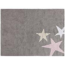 Lorena Canals tres estrellas tricolor alfombra lavable (gris/rosa)