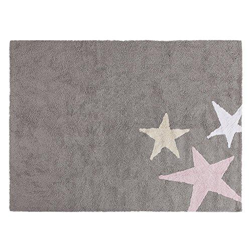 Alfombra infantil lavable Tres Estrellas Tricolor Rosa - Lorena Canals