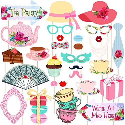LUOEM Tee Party Stick Requisiten Tea Party Photo Booth Requisiten Kit Party Zubehör Mädchen Party Favors Supplies, Pack von 30 (Keine DIY)