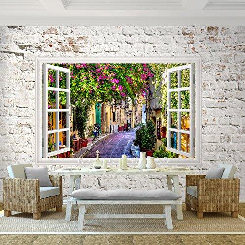 Fototapete Fenster 352 x 250 cm - Vliestapete - Wandtapete - Vlies Toscana Phototapete - Wand - Wandbilder XXL Steinwand Ziegelstein Ziegelsteinwand !!! 100% MADE IN GERMANY !!! Runa Tapete 9018011a