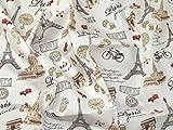 Minerva Crafts Paris Print Baumwolle Popeline Stoff