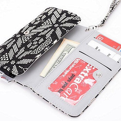 Kroo Téléphone portable Dragonne de transport étui avec porte-cartes pour Huawei Ascend P1LTE bleu noir