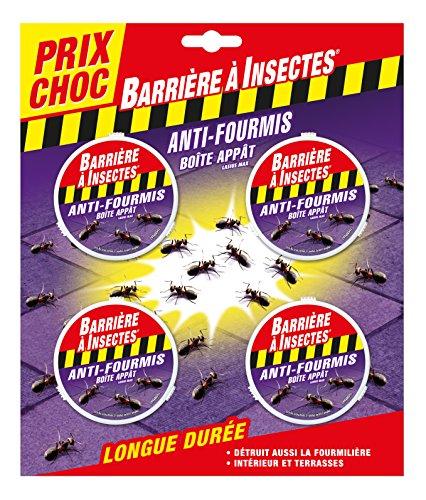 """BARRIERE A INSECTES Boîte à appât Anti-Fourmis """"Prix Choc"""", 1 boîte/7.5m², Blister de 4 boîtes, BARFOB4P"""