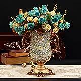 XOYOYO Europäischen Luxus Home Dekorationen Wohnzimmer Couchtisch Obst Platten von Tissue Boxen Vasen Aschenbecher zweckmässig eingerichtet, Peacock Blue Vase Dv2 + 8 Bündel von Rosen