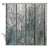 Ynes Polyester Duschvorhang Retro Blätter grau Altes Holz weiß Badezimmer Wasserdicht 182,9x 182,9cm