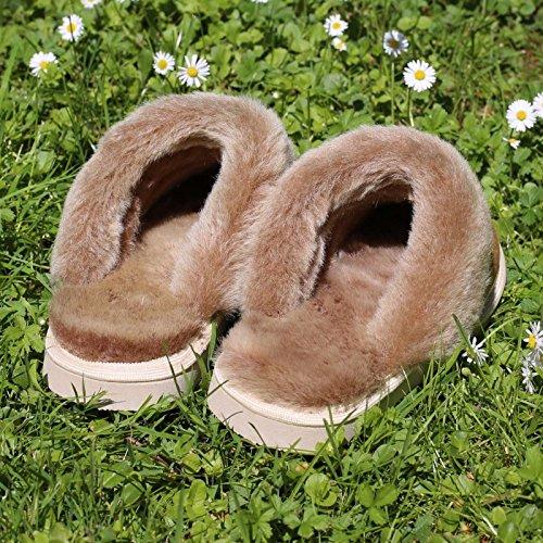 laine de mouton, pantoufle Pocahontas cognac marrón - marrón