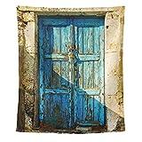 My Daily Wandteppich für Überwurf Polyester Home Decor, alte Tür von griechischen Inseln Vintage Wand Dekor für Wohnzimmer Zimmer-Wohnung Wohnheim Tagesdecke 152,4x 101,6cm, Polyester, multi, 60