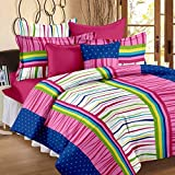 Story@Home 100% Cotton Bed Sheet for Double Bed with 2 Pillow Covers Set, Candy Queen Size Bedsheet Series, 120 TC, Stripes Pattern, Pink