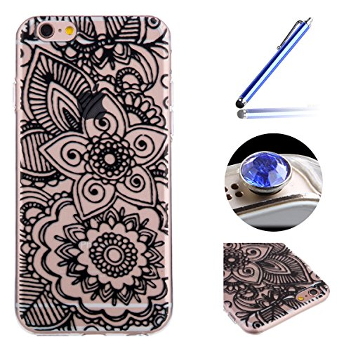[iPhone 5/5S/SE]Transparent TPU Coque étui,Etsue iPhone 5/5S/SE Unique la Conception de l'perles fil Chaud Bronzing Design Housse de Téléphone, Silicone Mince Souple Soft Protecteur Coque Housse Case  une fleur
