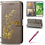 Huawei Nova 2 Coque en Silicone,Huawei Nova 2 Case Bookstyle,Hpory élégant Vintage Bronzing Papillon Motif With Lanyard Strap PU Cuir Case BookStyle Folio Support PU Leather Wallet Case with Magnetic Closure and Stand Function and Credit Card Holder Multifonction de Shell en Soft Silicone Bumber Protector Étui Anti Poussière Resistance Anti-rayures et Shockproof Couverture Etui Coquille pour Huawei Nova 2 + 1 x Hpory Stylus-(Gris)