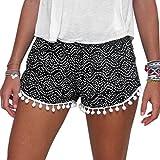 Dream Garden Women High Waisted Tassel Dot Print Beach Casual Gym Shorts Pants (UK12)