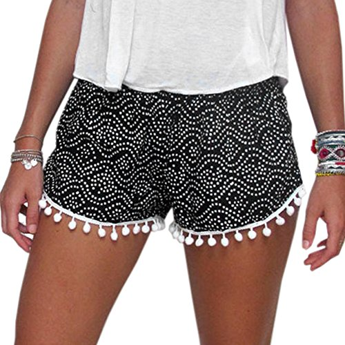 Dream Garden Women High Waisted Tassel Dot Print Beach Casual Gym Shorts Pants