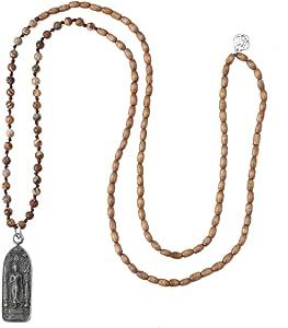 KELITCH 2020 Fortunato Buddha Argento Collane con Pendente Perline di Legno Collane Lunghe di Perline Nuove Collane di Cristallo