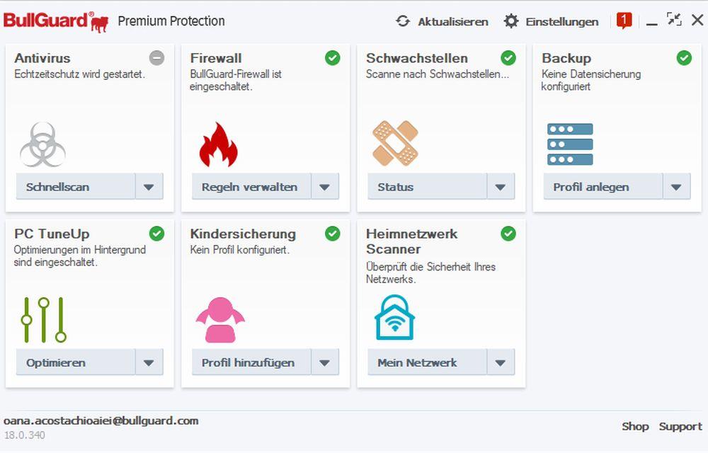 BullGuard Premium Protection 2018 - Lizenz für 1 Jahr und 10 Geräte! Windows|MacOS|Android [Online Code] - 2