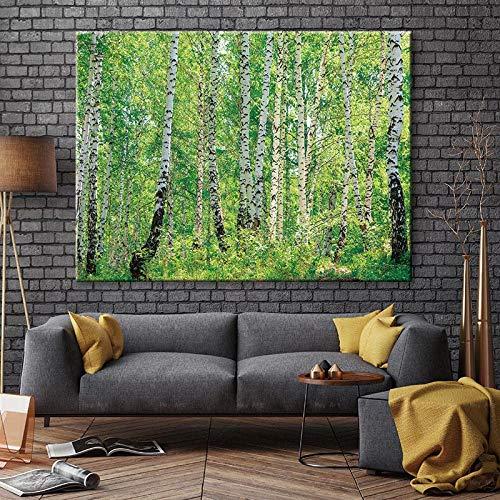NIMCG Pittura su Tela di Betulla Bianca Dipinti murali Stampe Poster Cornice Senza Cornice Foresta Primavera Paesaggio Immagine Grafica per Soggiorno (Senza Cornice) R1 40x50 cm