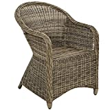 TecTake Luxury aluminium wicker chair seat armchair garden conservatory poly rattan natural + seat cushion and back cushion - different colours - (brown natural | no. 401766)