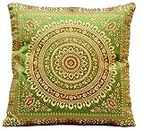 Grün Indische Seide Wohnzimmer Deko Kissenbezüge 40 cm x 40 cm, Extravaganten Design für Sofa & Bett Dekokissen, Kissenhülle aus Indien (Angebot gültig nur für ein Woche)
