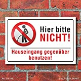 Schild Pinkeln verboten urinieren pissen Hauseingang gegenüber 3 mm Alu-Verbund 300 x 200 mm