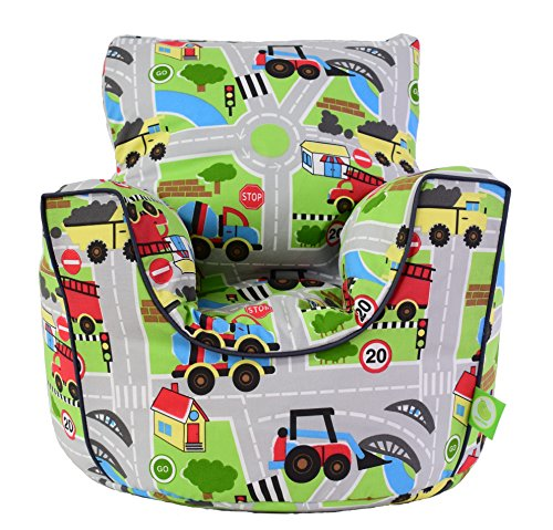Cotton Transport Road Map Bean Bag Arm Chair with Beans Toddler Size By Bean Lazy