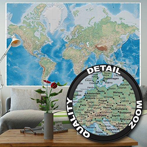 Foto mural mapa mundial – imagen mural decoración proyecctión Miller mapa globo mundial la tierra geográfica con sus desños relifes I foto-mural foto póster deco pared by GREAT ART (210 cm x 140 cm)