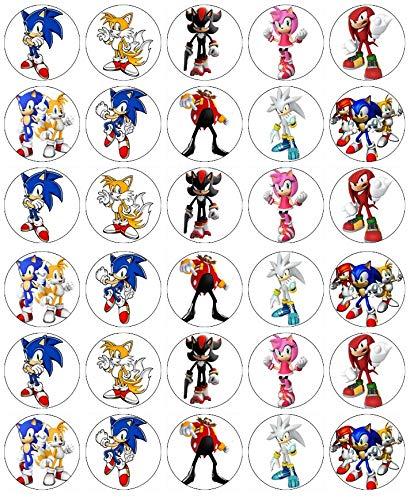 Cupcake-Topper Sonic The Igel, essbares Oblatenpapier, Feen-Motiv, 30 Stück