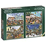 Falcon de luxe 11226 Seasons in the Village 4x1000 Piece Jigsaw Puzzle, Multi-Colour