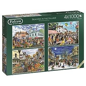 Jumbo Falcon de Luxe Seasons in The Village 4 x 1000 pcs Puzzle - Rompecabezas (Puzzle Rompecabezas, Adultos, Niño/niña, 12 año(s), Interior, Cartón)