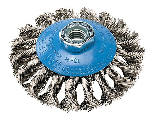 Walter saucer-cup knot-twisted Bürste, Gewindeloch, Edelstahl 304, 10,2cm Durchmesser, 0cm Draht Durchmesser, 5/20,3cm-11Arbor, 20000Maximale U/min - 4 0 Aluminium-draht
