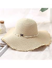 Minions Boutique donna estate paglia cappello a tesa larga spiaggia di  sabbia piscina floppy pieghevole protezione 50683595b620