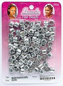 Dreamfix - Haarperlen Hair Beads ca. 100 Stück Silber Perlen mit Clips