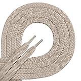 Di ficc hiano-Cordones de calidad Plano-Aprox. 7mm de ancho-100% de algodón, resistente, 16colores, 45-200cm de longitud, color Beige, talla 110 cm