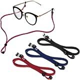 Sports PU Leather Glasses Strap, Zingso 3 Pcs Multi-Color Classic PU Leather Adjustable Sunglasses Head Band Eyeglass…
