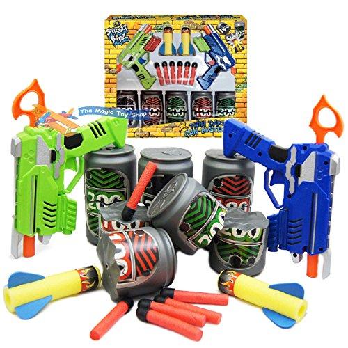 Strada Kidz Doppie Dardo Pistola Can-Buster Gioco Scatola di latta Recipiente & Tiraggio gioco divertimento dei bambini Giocattolo