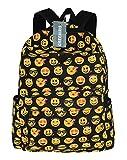 Greeniris Mädchen Segeltuch Emoji Rucksack Damen Vintage Schulrucksack für Damen/Kinder