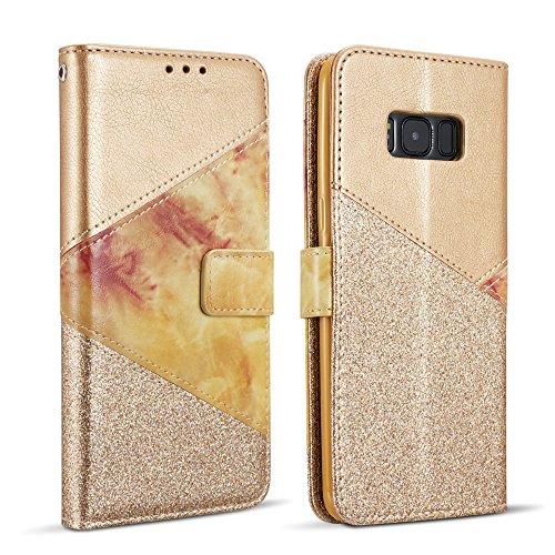 ZCDAYE Hülle für Samsung Galaxy S7,Luxus Glitter Schutzhülle [Magnetverschluss] PU Leder [Keramisches Muster][Kartensteckplätze] Flip Geldbörse Folio Tasche weichem TPU Handyhülle - Gold Leder-flip Folio