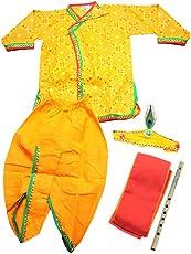 Chipbeys Kids' cotton yellow Krishna style kurta & dhoti dress with mukut, angrakha and bansuri