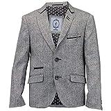 Jungen Kinder Wollmischung Fischgrätenmuster Tweed Blazer Patch Jacke Von Creon Previs - Synthetisch, Grau - BARKLY, 70% viskose 70% polyester 30% wolle 5% wolle 5% elasthan 95% polyester 25% nylon, Herren, 110