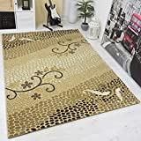 VIMODA Moderner Designer Teppich mit Glitzereffekt Edel Elegant in Versch Größen in Gold Beige Top Qualität Sehr Pflegeleicht 160x230 cm