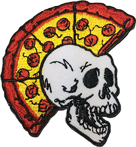 papapatch Skelett Totenkopf Pizza Head Punk Ride Motorrad Chopper Jacke Weste Kostüm DIY Nähen Eisen auf bestickte Applikation Badge, Patch (iron-skull-pizza-punk) -