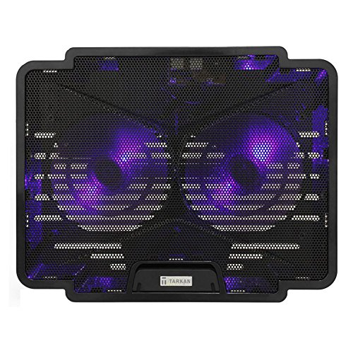 Tarkan Dual Fan Cooling Pad with Dual LED, Fan Control Switch, USB 2.0 Hub, Multi Angle Stand, Fits upto 15.6 inch Laptops