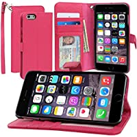 Evecase iPhone 6 Plus Portafoglio custodia in PU pelle con supporto per Apple iPhone 6 Plus/6S Plus 5.5