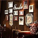 XUEYAN Foto Wand, Bilderrahmen Hängenden Wand Kreative Kombination Europäischen Fotowand Amerikanischen Retro Massivholz Wohnzimmer Einfache Persönlichkeit Foto Wanddekoration (Farbe : B)