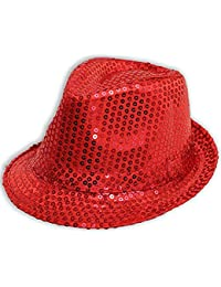 Mens Ladies Trilby Hat Sequin Fedora Hat 1920'S Gangster Fancy Dress Dance Show Unisex Accessory (Red)