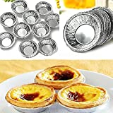 Butterme Disposable Aluminum Foil Cups Baking Bake Muffin Cupcake Tin Mold Round Egg Tart Tins Mold Mould 50Pcs Silver Tone