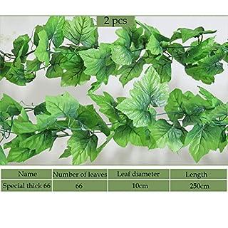 Künstliche Kunstpflanze Pflanze Girlande Busch Ranke Pflanze Hänger (2x Weinblatt Girlande)