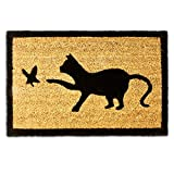 Relaxdays 10016759 Kokosmatte mit Katzen-Motiv robust umweltfreundlich