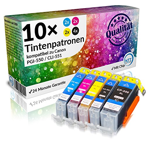 N.T.T.® - 10 x Stück XL Tintenpatronen / Druckerpatronen kompatibel zu PGI-550PGBK , CLI-551BK, CLI-551C, CLI-551M, CLI-551Y - MX725 MX925 iP7250 MG6350 MG5450