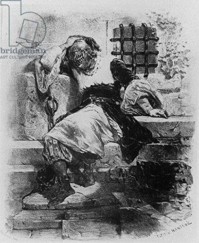 "Leinwand-Bild 80 x 100 cm: ""The Man in the Iron Mask in his Prison, illustration for the opera by Adrien Boieldieu and E. Barateau (engraving) (b/w photo)\"", Bild auf Leinwand"